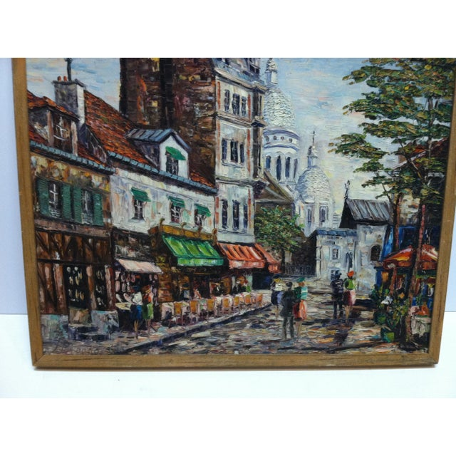"""This is a Framed Original Painting on Canvas that is titled """"Sidewalk Dining"""". The Artist of the Painting is Unknown. The..."""