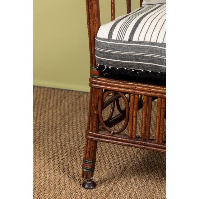 Adirondack 1920s Bent Wood Loveseat Settee With Injiri Upholstery For Sale - Image 3 of 10