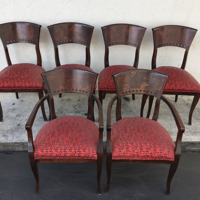 Italian Red Upholstered Wood Dining Chairs- Set of 6 - Image 6 of 10