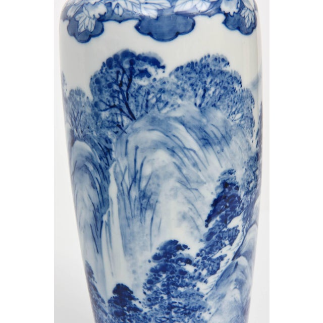Pair of Vases, Antique Blue and White Japanese, Signed For Sale - Image 9 of 10