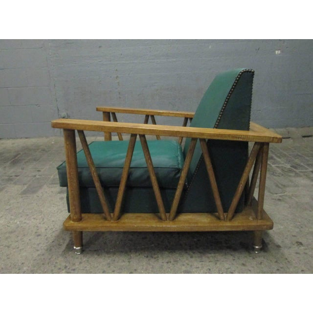 1950s Pair of French Cerused Oak Lounge Chairs For Sale - Image 5 of 9