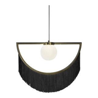 Wink Gold-Plated Pendant Lamp With Black Fringes For Sale
