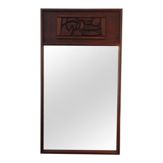 Brutal Carved Mahogany Oversized Mirror For Sale