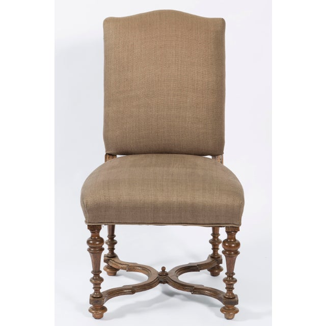 Italian 19th Century Italian Walnut Side Chairs in Brown Linen - Set of 4 For Sale - Image 3 of 7