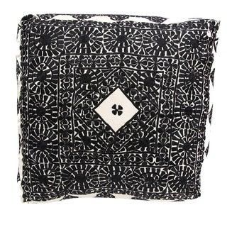 Handmade Moroccan Black Square Floor Pouf