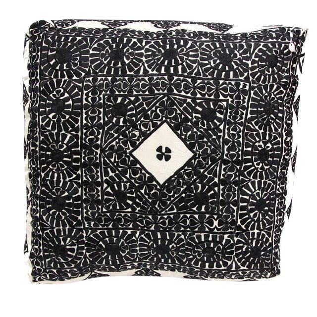 Handmade Moroccan Black Square Floor Pouf - Image 1 of 2