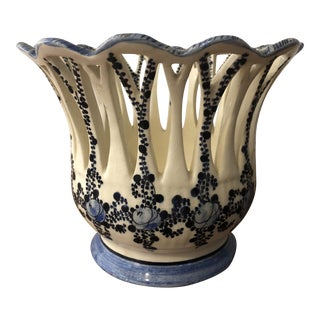 French Decorative Pierced Vase Cachepot For Sale