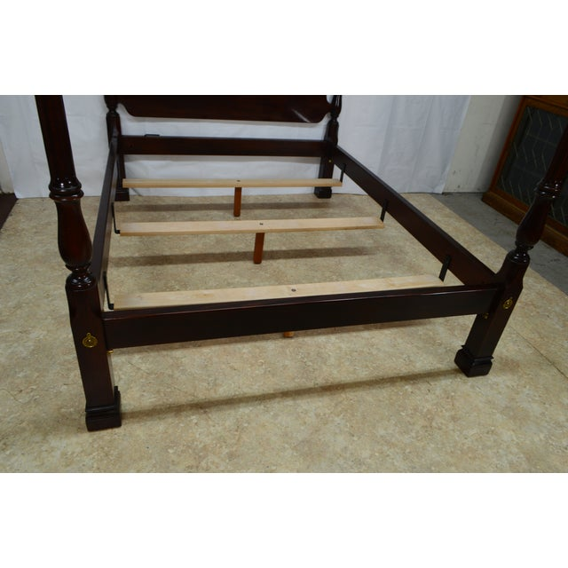 Traditional 20th Century Traditional Stickley Solid Mahogany Queen Poster Bedframe For Sale - Image 3 of 12