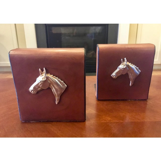 English Equestrian Saddle Leather Bookends - a Pair For Sale In New York - Image 6 of 12