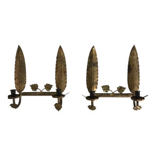 Spanish Gilt Metal Leaf Form Sconces - a Pair For Sale