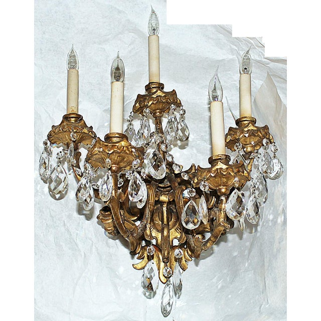 Here's a stunning antiques hand-carved wooden Italian 23k gilt rococo wall sconce, 5 wired and working candleabra base...