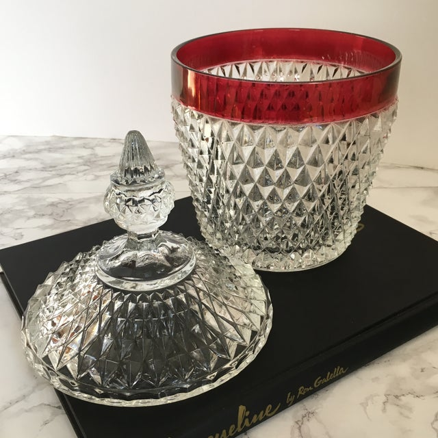 Hobnail Glass Ruby Flash Ice Bucket For Sale - Image 5 of 11