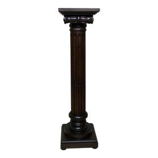 1960s Walnut Carved Wood Pedestal For Sale