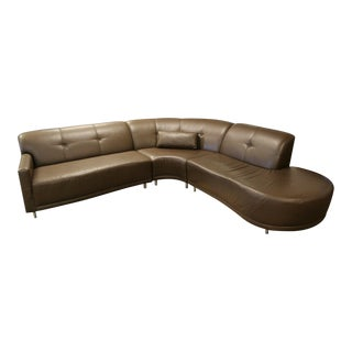 Contemporary Modern Brown Leather 3 Pc Curved Sectional Sofa - Set of 3 For Sale