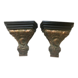 Vintage Burnished Gold Leaf and Verdigris Wall Brackets - a Pair For Sale