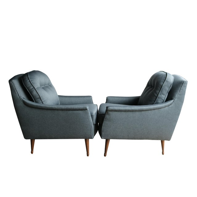 Grey Mid-Century Modern Armchairs - Pair - Image 5 of 6