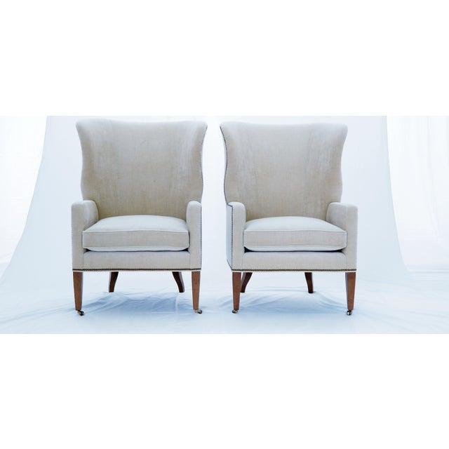 Baker Furniture Company Baker Furniture Modern Wingback Accent Chairs - A Pair For Sale - Image 4 of 12