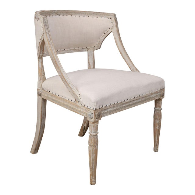 Linen Pair of 19th Century Swedish Armchairs For Sale - Image 7 of 9