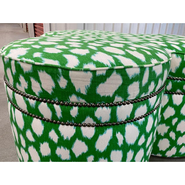 Green Contemporary Large Cloverleaf-Shaped Ottoman Upholstered in Kate Spade Fabric For Sale - Image 8 of 9