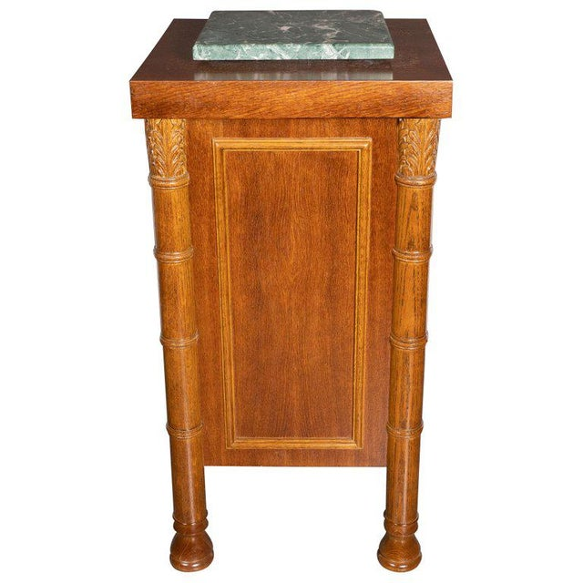 Art Deco Hand Rubbed Oak Pedestal With Exotic Green Rotating Marble Top For Sale - Image 9 of 9