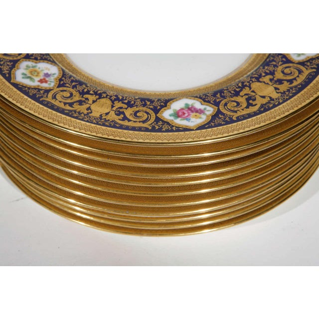 Cauldon English Plates Retail by Cowell and Hubbard Company Set of 12 For Sale - Image 4 of 9