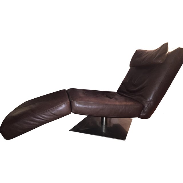 Natuzzi Zeta Brown Leather Chaise - Image 1 of 3
