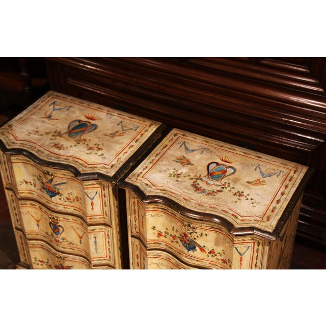 19th Century Italian Carved Chests of Drawers With Bird Painted Decor - a Pair For Sale - Image 11 of 13