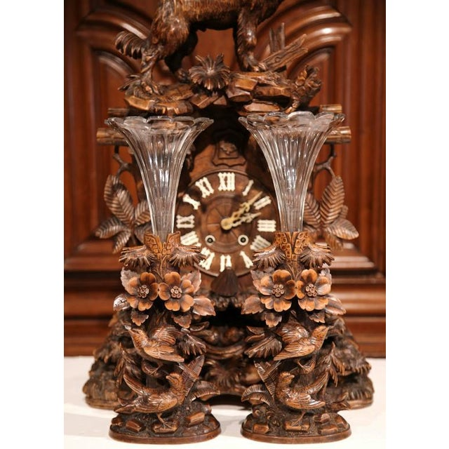Brown 19th Century Black Forest Carved Walnut Cuckoo Clock - Set of 3 For Sale - Image 8 of 11