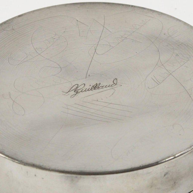 1930s French Designer L. Guilbaud Art Deco 1930s Dinanderie Pewter Box For Sale - Image 5 of 6