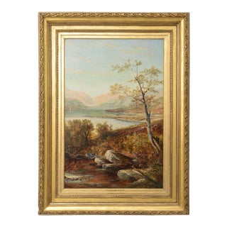 """19th Century Oil on Board Painting, """"Loch Tyt N. B."""": Thomas Hines For Sale"""