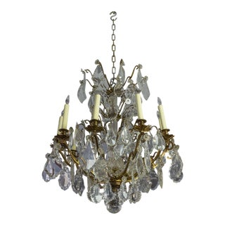 French 1940s Ten-Armed Baccarat Chandelier