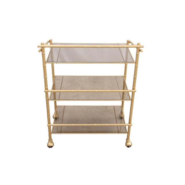 Chinoiserie Faux Bamboo Bar Cart - Image 7 of 7
