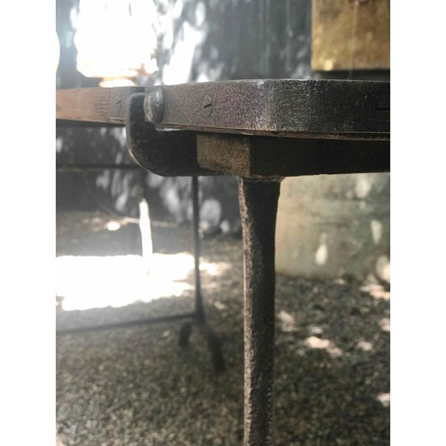Iron 1850s England Trestle Table With Iron Legs and Oakwood Top For Sale - Image 7 of 9