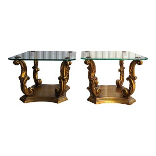 Weiman Gold Leaf & Glass Side Tables - a Pair For Sale