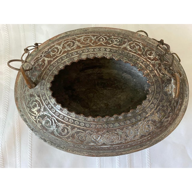 Mid 20th Century Vintage Turkish Ornate Oval Hanging Brazier Planter For Sale - Image 5 of 8