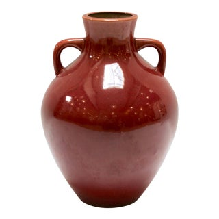 Mid 20th Century Vintage Red Glazed Pottery Vase For Sale