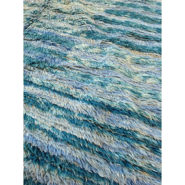 "Textile Vintage Moroccan Aqua Berber Rug -- 5'2"" x 10'11"" For Sale - Image 7 of 9"
