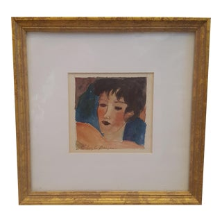 Mid Century Watercolor Abstract Portrait of a Woman