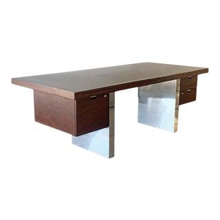 Roger Sprunger for Dunbar Rosewood and Chrome Executive Desk For Sale