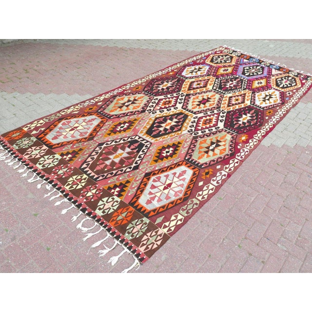 """Oversize Turkish Kilim Rug - 6'4"""" X 14'7"""" For Sale In Raleigh - Image 6 of 7"""