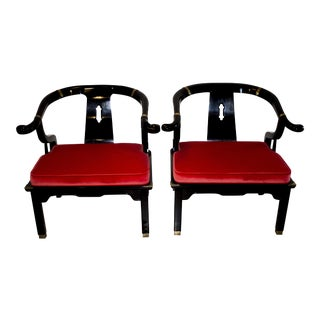 Century Furniture James Mont Horseshoe Chairs - A Pair For Sale