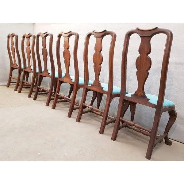 French Antique Chippendale Queen Anne Style Walnut Turquoise Blue Reupholstered Dining Chairs - Set of 6 For Sale - Image 12 of 13