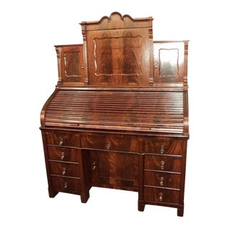 Antique German Mahogany Roll Top Desk, Circa 1860's