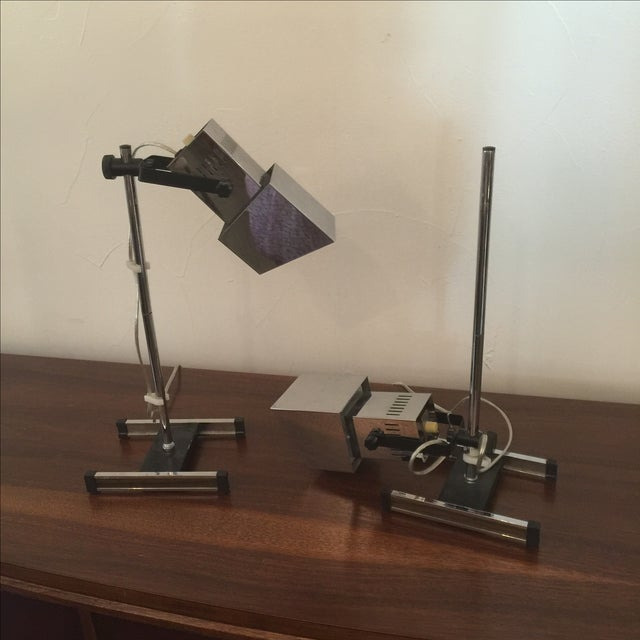 1960s Architectural Chrome Desk Lamps - A Pair For Sale - Image 7 of 8