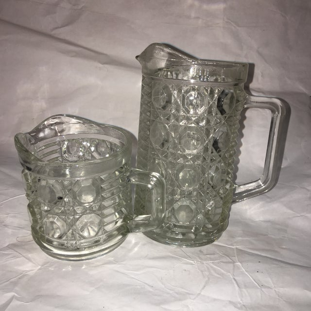 Antique Hobnail Glass Pitcher & Creamer - A Pair - Image 2 of 10