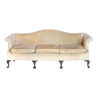 Antique Cream Mohair Camel-Back 3 Seater Sofa For Sale
