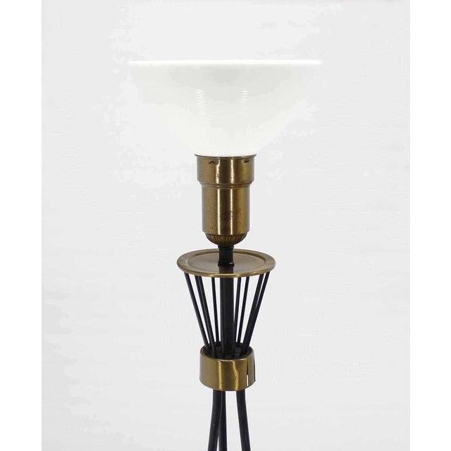 Mid-Century Modern Round Brass Base Iron Spokes Mid-Century Floor Lamp For Sale - Image 3 of 6
