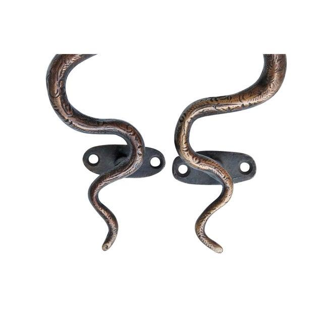 Boho Chic Dark Brass Cobra Door Handles - a Pair For Sale - Image 3 of 5