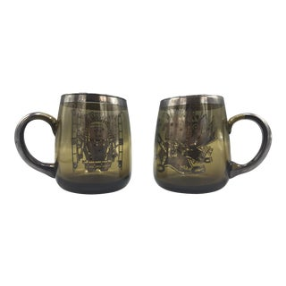 1960s Mid Century Smoke Glass Mugs-a Pair For Sale
