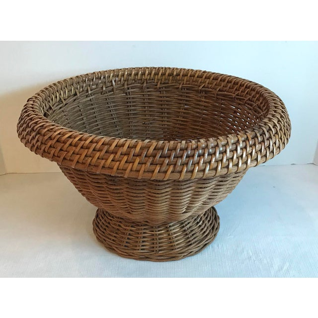 Brown Vintage Mid Century Natural Wicker Planter For Sale - Image 8 of 8